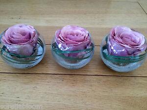 SET OF 3 GLASS BOWLS VINTAGE PINK ROSE & GRASS ARTIFICIAL FLOWER ARRANGEMENTS