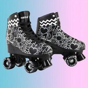 Withstand 220 Lb Indoor and Rink Skating ZZAINIO Roller Skates,Women Flash Skates Four-Wheel Roller Skates Fun Shiny Roller Skates Forfor Girls Boys Kids Outdoor