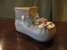 Baby Boot Shoe Porcelain Floral Blue Ribbon Planter Holder Figurine Mini Vintage