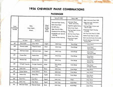 1956 CHEVROLET CARS EXTERIOR INTERIOR PAINT NUMBERS COMBINATIONS COLOR CHART D