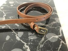 SIMPLE LADIES GIRLS THIN SKINNY FAUX LEATHER ADJUSTABLE WAIST BELT Brown