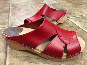 Troentorp BASTAD Original Mariah Wood Heel Open Toe Clogs red 39/8.5 NICE!!