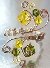 Handmade Wire Work Wrap Adjustable Ring Lime Green Yellow Swarovski Crystal