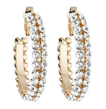 Clip On Hoop Earrings - gold plated hoops with clear crystal stones - Bevin