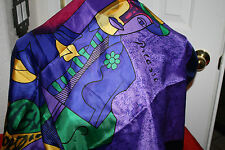 ARTISTIC SCARF OF PICASSO-BRIGHT COLORS EXC. COND. 34 IN SQ.