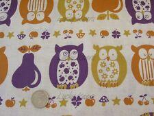 Kawaii Japanese Owl Owls Apples Pears Purple Mustard Cotton Linen Fabric Half Yd