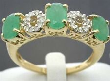 Emerald & 20 Diamond 9ct 9K Solid Gold Antique Style Ring - 30 Day Refund