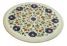 "18"" Round Marble Table Top Mosaic Inlay Handmade Work Home Decor"
