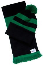 Black and Green Hat and Scarf Set - Made in the UK