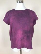 Eileen Fisher Tie Dye Burgundy Tee Shirt Short Sleeve Size Large