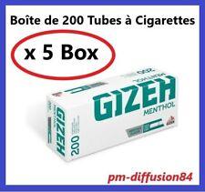 1000 TUBES à Cigarettes avec Filtres. GIZEH Menthol - 5 Boîtes de 200 Tubes