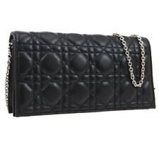 Christian Dior Lady Dior Cannage Chain Shoulder Bag Purse Black Leather S09672