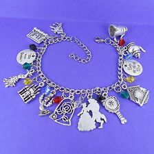 BEAUTY AND THE BEAST THEMED CHARM BRACELET disney princess belle lumiere rose