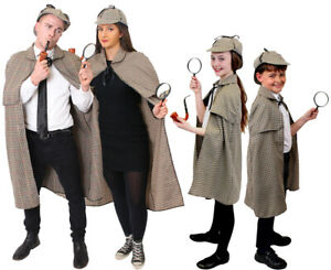 ADULT OR CHILD SHERLOCK HOLMES COSTUME CAPE HAT DETECTIVE BOOK DAY FANCY DRESS