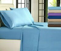 Egyptian Comfort Stripe 1800 Count 4 Piece Bed Sheet Set Deep Pocket Bed Sheets