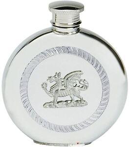 Pewter Hip Flask Welsh Dragon Round Flask 6oz Screw Top CYMRU Y Ddraid Goch