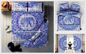Indien Queen 5 PC Boho Elephant Mandala Tapestry + Curtains + Duvet Doona Cover