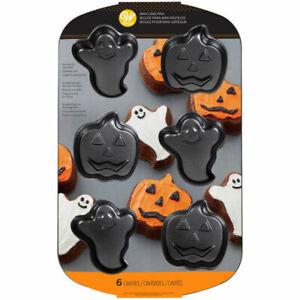 Wilton 6 Cavity Non Stick Halloween Ghost and Pumpkin / Jack O Lantern Mini Cake