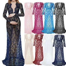 Women Sexy Deep V Neck Long Sleeve Maternity Gown Lace See-through Long Dress B0