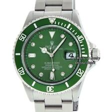 Rolex Mens Submariner Date Watch 16610 S/Steel Green Ceramic Hulk Diamond Dial