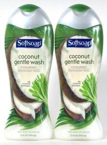 2 Bottles Softsoap 15oz Coconut Oil & Lemongrass Hypoallergenic Gentle Body Wash