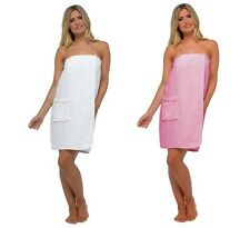 Womens 100% Cotton White Toweling Spa Bath Shower Body Towel Wrap with Pocket