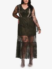 ELVI OLIVE GREEN LONG SLEEVE LINED PREMIUM LACE MAXI DRESS Sz US 10/UK 14
