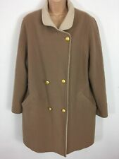 WOMENS BROWN PURE NEW WOOL DOUBLE BREASTED SMART LONG WARM WINTER COAT UK 18
