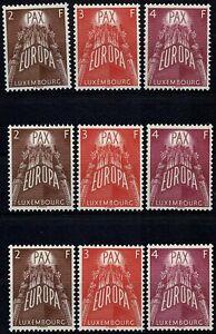Luxemburg Luxembourg 1957 EUROPA, 3 Sammlungen postfrisch, Mi: 572/574** KW:360€