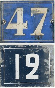 Large old French house number 47 12 door gate plate plaque steel sign 1930s