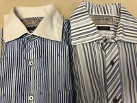 Alexander Julian Private Reserve L/XL L/S Shirt Lot Blue Stripe French Cuff A29