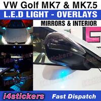 VW Golf MK7 MK7.5  decals stickers LED Blue Light overlays - mirror & interior