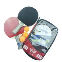 2 PCS Professional Table Tennis Ping Pong Racket Paddle Bat + 3 Balls Bag Sets