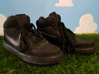 Nike Court Borough Mid Top Black Trainers Size 4