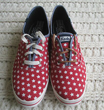 Womens KEDS Tie Fashion Sneakers 10 Patriotic Flag Canvas Stars 2 Sets Laces
