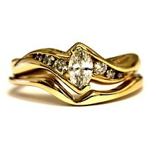 14k yellow gold .38ct SI1 H marquise engagement wedding band ring 3.9g