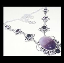 NEW - AMETHYST LACE BLACK ONYX ACCENT SILVER PLATED STATEMENT NECKLACE