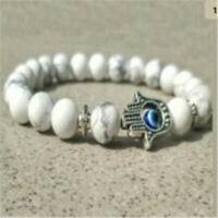 8MM Howlite Buddhist Bead mala Bracelet Yoga Pray Mala Lucky Gemstone Wrist