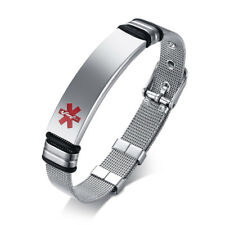 Free Engraving Men Male Medical Alert ID Stainless Bracelet Emergency Adjustable