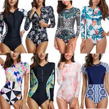 12480837224 Women Long Sleeve Padded One Piece Swimwear Beach Zipper Bikini Surfing  Swimsuit