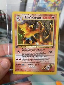 1st edition holo blaine's charizard pokemon card Beautiful! Gym Challenge 2/132
