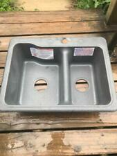 """American Stonecast Double Bowl Sink, 25"""" x 19"""" x 7"""", Gray, New, #6H"""