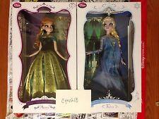 "Disney Store Anna And Elsa Frozen 17"" Doll Set LE 2500 Bonus Anna Elsa Pins"