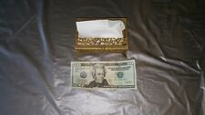 Vintage Metal Brass Tissue Box Cover-pocket size, Hollywood Decor