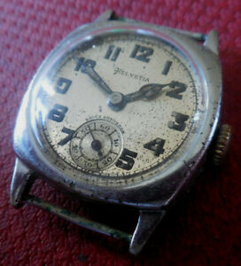 Vintage 1930s HELVETIA 15 Jewels 3 Adj. Swiss Military Tank Running Wrist Watch
