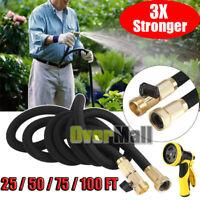 3X Stronger Deluxe 75/100 FT Expandable Flexible Garden Water Hose+Spray Nozzle
