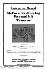 Farmall McCormick IH Model A OPERATOR MANUAL Parts List INT-5270 (10/06/1939)