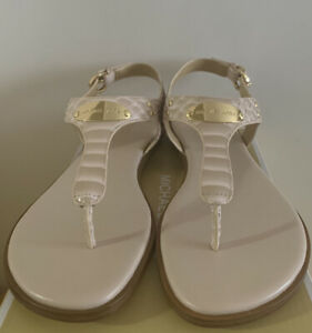 New - Women's Michael Kors Soft Pink Leather Thong Sandals Size 8
