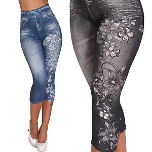 3/4 Capri High Waist Leggings Blumen Schmetterling Hose Jeans Look Jeggings 218