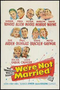 MARILYN MONROE - 1952 - WE'RE NOT MARRIED - 12X18 INCH MOVIE POSTER COLLECTABLE
